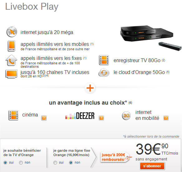 offre adsl livebox play