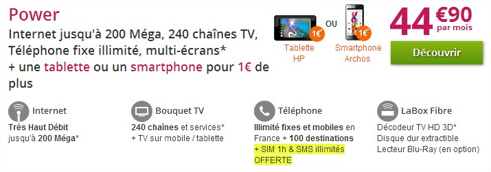 offre internet power numericable