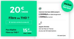 L'offre RED Fibre à 20€/mois (sans frais de location de la box)